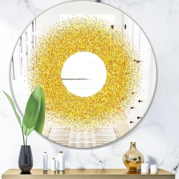 Designart 'Luxury Golden Glitter Round' Glam Mirror - Oval or Round Wall Mirror - Gold