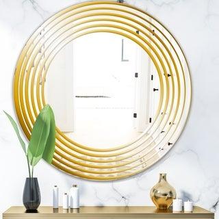 Designart 'Yellow Circles' Glam Mirror - Oval or Round Vanity Mirror - Gold