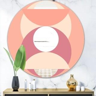 Designart 'Peach Circle' Mid-Century Mirror - Oval or Round Wall Mirror - Pink