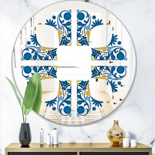 Designart 'Blue Tiles' Bohemian and Eclectic Mirror - Oval or Round Wall Mirror - Blue