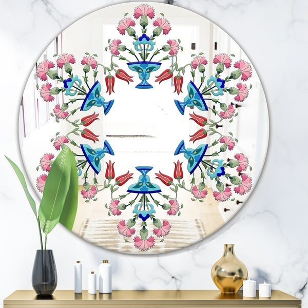 Designart 'Pick Me Up A Daisy' Bohemian and Eclectic Mirror - Oval or Round Wall Mirror - Blue