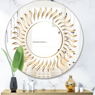 Designart 'Golden Rays' Glam Mirror - Oval and Circle Wall Mirror - Gold