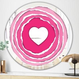 Designart Love At First Sight Pink Mid-century Mirror (Round - 31.5 in. wide x 31.5 in. high)