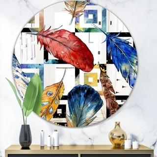 Designart 'Elementary Botanicals 6' Mid-Century Mirror - Oval or Round Wall Mirror - Blue