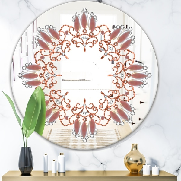 Designart 'Neutral Color Pattern' Glam Mirror - Oval and Circle Wall Mirror - Bronze