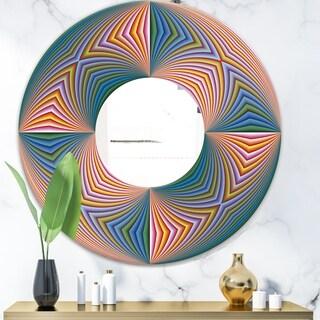 Designart 'Illusion Multicolor' Modern Mirror - Oval and Circle Wall Mirror - Pink