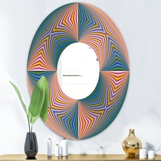 Designart Illusion Multicolor Pink Oval and Circle Modern Wall Mirror (23.7 in. wide x 31.5 in. high - Oval)