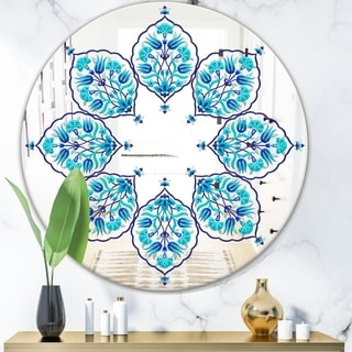 Designart 'Blue Leaves' Bohemian and Eclectic Mirror - Oval or Round Wall Mirror - Blue