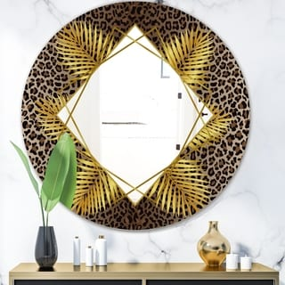 Designart 'Leopard 5' Glam Mirror - Oval or Round Wall Mirror - Gold