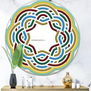 Designart 'Byzantine Rosette' Mid-Century Mirror - Oval or Round Wall Mirror - Blue