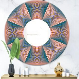 Designart 'Illusion Multicolor II' Mid-Century Mirror - Oval or Round Wall Mirror - Multi