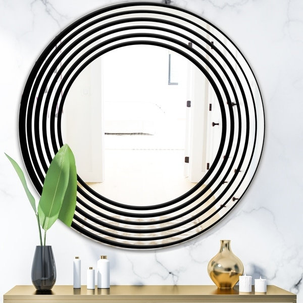 Designart 'Abstract Spiral' Modern Mirror - Oval or Round Wall Mirror - Black