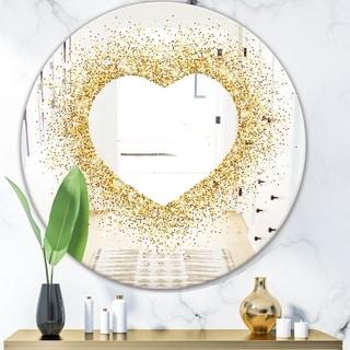Designart 'Golden Glitter Heart' Glam Mirror - Oval or Round Accent or Vanity Mirror - Gold