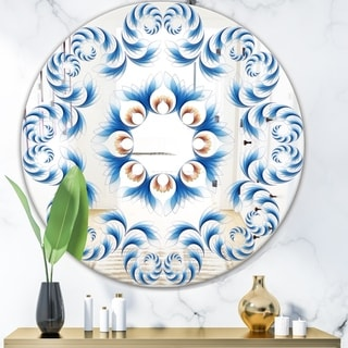 Designart 'Blue Vision Flower Waves' Mid-Century Mirror - Oval or Round Wall Mirror - Blue