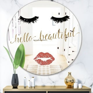 Designart 'Fashion Glam Lips On Gold I' Modern Mirror - Oval and Circle Wall Mirror
