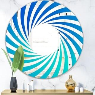Designart 'Gradien Blue Lines' Modern Mirror - Oval or Round Wall Mirror