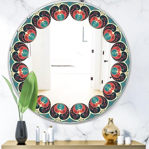 Designart 'Blue and Orange Pattern' Mid-Century Mirror - Oval or Round Wall Mirror - Blue