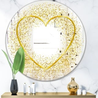 Designart 'Love and Glitter' Glam Mirror - Oval or Round Wall Mirror - Gold