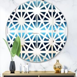 Designart 'Geometry Sky' Mid-Century Mirror - Oval and Circle Wall Mirror - Blue