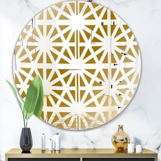 Designart 'Geometry Pattern' Glam Mirror - Oval or Round Wall Mirror - Gold