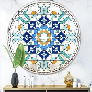Designart 'Stainless Glass' Mid-Century Mirror - Round Wall Mirror - Blue