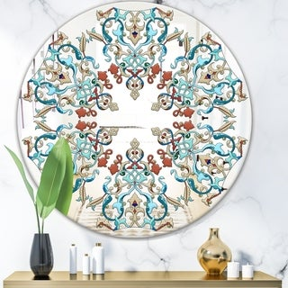 Designart 'Intersecting Of Red and Blue' Mid-Century Mirror - Oval or Round Wall Mirror - Blue