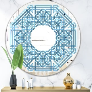 Designart 'Blue Maze Shape' Mid-Century Mirror - Oval or Round Wall Mirror - Blue