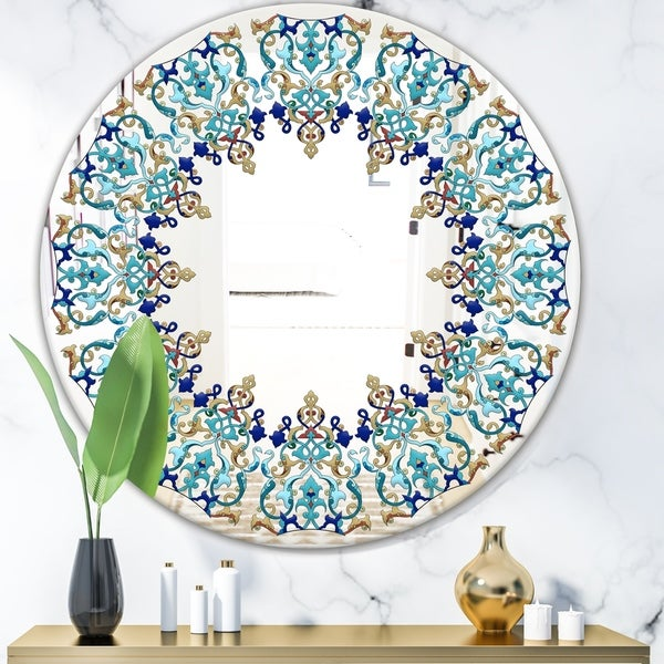 Designart 'Blue and Brown Design' Bohemian and Eclectic Mirror - Oval or Round Wall Mirror - Blue