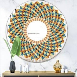 Designart 'Blue Mosaic Spectrum' Mid-Century Mirror - Oval or Round Wall Mirror - Blue