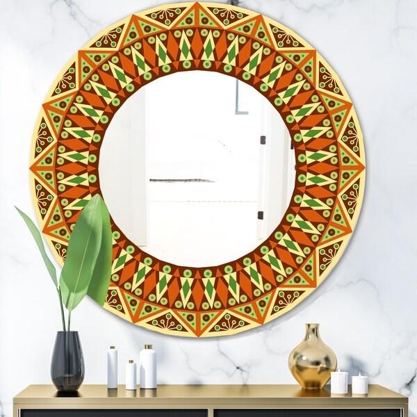 Designart 'Beige Brown and Orange' Modern Mirror - Oval or Round Wall Mirror - Multi