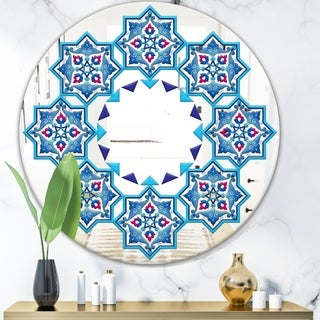 Designart 'Blue Stars In Stars' Mid-Century Mirror - Oval or Round Wall Mirror - Blue