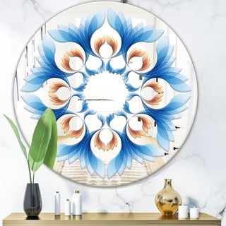 Designart 'Blue Growing Flowers' Mid-Century Mirror - Oval or Round Wall Mirror - Blue