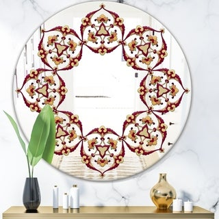 Designart 'Brown and Beige Pattern' Bohemian and Eclectic Mirror - Oval or Round Wall Mirror - Red