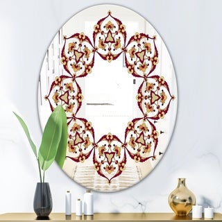 Designart Brown and Beige Pattern Bohemian and Eclectic Red Oval or Round Wall Mirror (Oval - 23.7 in. wide x 31.5 in. high)