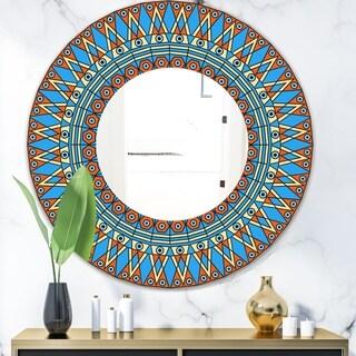 Designart 'Orange and Blue Pattern' Mid-Century Mirror - Oval or Round Decorative Mirror