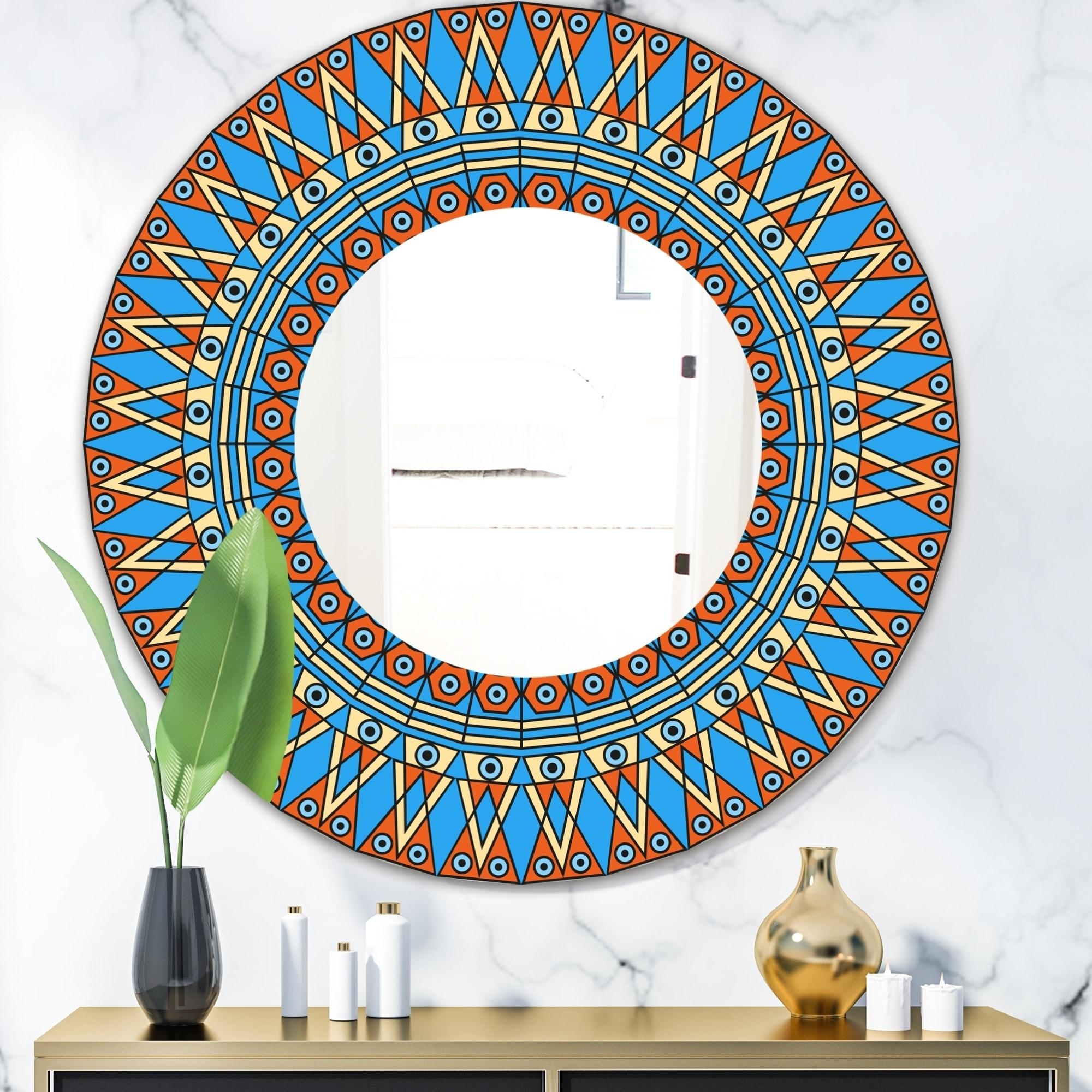 Designart Orange and Blue Pattern Mid-Century Mirror - Oval or Round Decorative Mirror (39.4 in. wide x 39.4 in. high - Round)