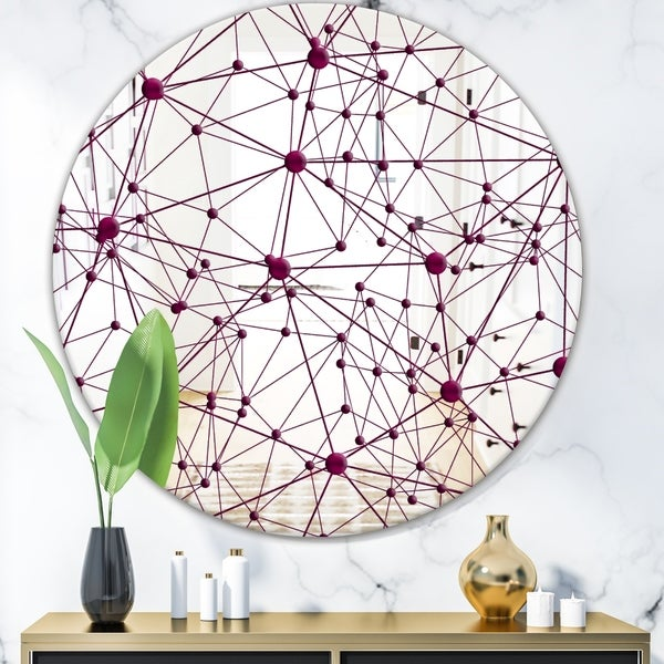 Designart 'Circular Web 3' Modern Mirror - Contemporary Oval or Round Decorative Mirror - Purple