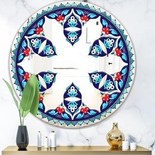 Designart 'Blue and Red Pattern' Bohemian and Eclectic Mirror - Oval or Round Wall Mirror - Blue