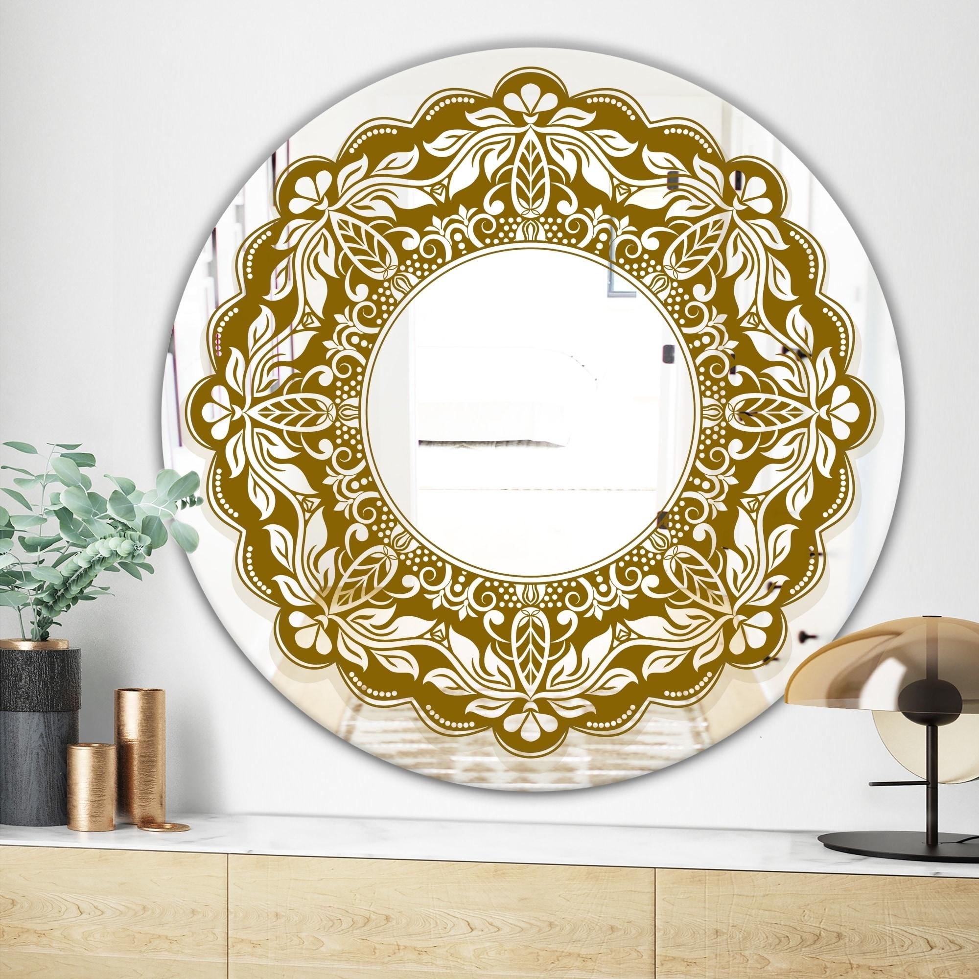 Designart Mandala Modern Mirror Contemporary Oval Or Round Wall Mirror Multi Overstock 28022755
