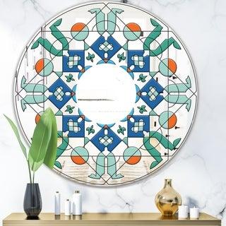 Designart 'Shades Of Green Glass Pattern' Mid-Century Mirror - Oval or Round Wall Mirror - Blue
