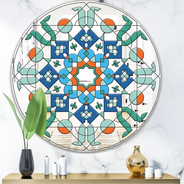 Designart 'Green Glass Pattern' Mid-Century Mirror - Oval and Circle Wall Mirror - Blue