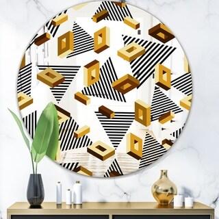 Designart 'Capital Gold Lively 4' Glam Mirror - Oval or Round Decorative Mirror - Black