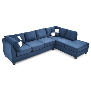 LYKE Home Braxton Navy Blue Sectional