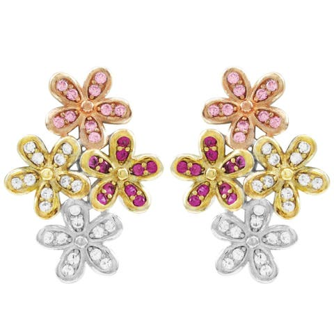 Luxiro Lab-created Ruby with CZ Sterling Silver Flower Earrings