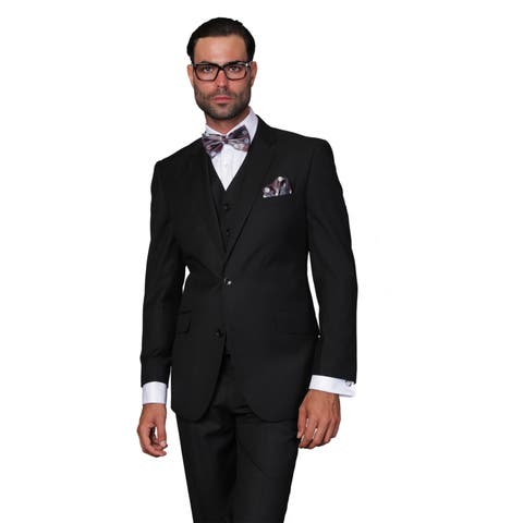 Statement Suits Men's Wool Solid Color 3-piece Suit Size 46R in Black (As Is Item)
