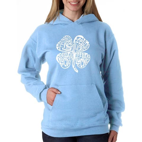 Women's Word Art Hooded Sweatshirt -Feeling Lucky - LA Pop Art