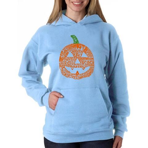 Women's Word Art Hooded Sweatshirt -Pumpkin - LA Pop Art