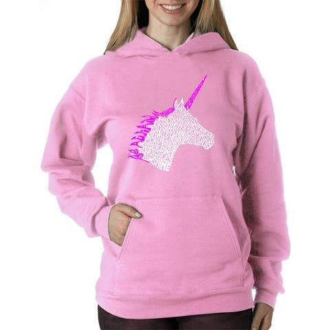 Women's Word Art Hooded Sweatshirt -Unicorn - LA Pop Art