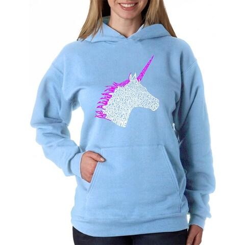 Women's Word Art Hooded Sweatshirt -Unicorn - LA Pop Art