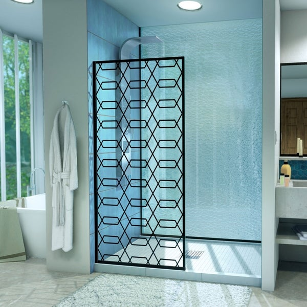 "DreamLine Linea Maze 34 in. W x 72 in. H Single Panel Shower Door, Open Entry Design - 34"" W"